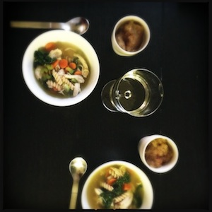 Chicken soup, pink lady applesauce, and new wine glasses.